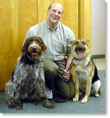 Dr. Carron and his dogs